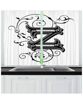 2 Piece Letter Z Kitchen Curtain East Urban Home