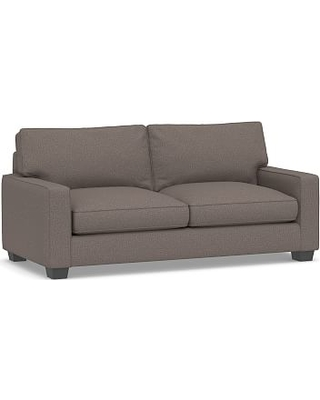 PB English Upholstered Sleeper Sofa, Polyester Wrapped Cushions, Performance Brushed Basketweave Charcoal