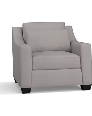 York Slope Arm Upholstered Deep Seat Armchair, Down Blend Wrapped Cushions, Performance Twill Metal Gray