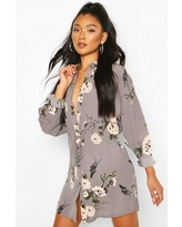 Womens Floral Shirt Dress - Grey - 6