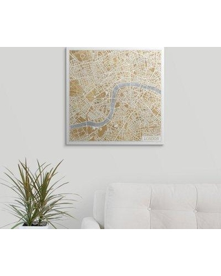 """Great Big Canvas 'Gilded London Map' by Laura Marshall Graphic Art Print 2357981_1 Size: 20"""" H x 20"""" W x 1.5"""" D Format: Canvas"""