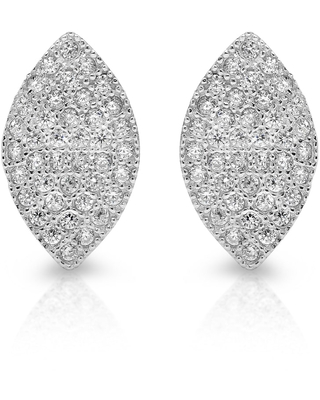 Roberto Martinez Silver Cubic Zirconia Micro-pave Marquise Stud Earrings (White)