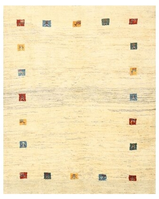 Contemporary Beige/Blue/Red Area Rug