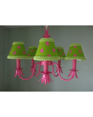 Shock Pink and Lime Dottie 5 - Light Shaded Classic / Traditional Chandelier Silly Bear Lighting