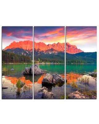 Design Art Colorful Eibsee Lake Sunset - 3 Piece Graphic Art on Wrapped Canvas Set PT9584-3P