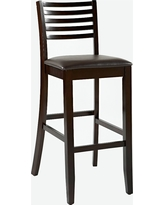 Torino Ladder Back 29 Bar Stool Upholstered Seat - Espresso Wood - Linon, Espresso Brown