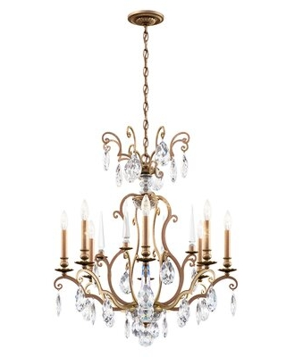 8 - Light Candle Style Classic / Traditional Chandelier with Crystal Accents