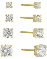 Cubic Zirconia Set of 4 Round Stud Earrings with 14k Gold Plating in Sterling Silver - Gold, Gold/Crystal