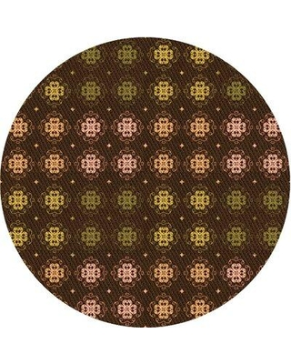 East Urban Home Patterned 3865 Orange Area Rug X113672256 Rug Size: Round 3'