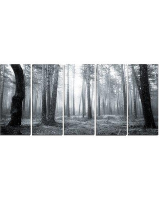 Design Art 'Black and White Foggy Forest' 5 Piece Photographic Print on Wrapped Canvas Set PT14756-401