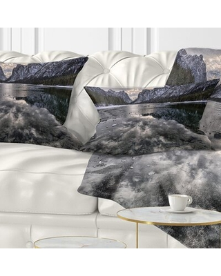 Landscape Icy Mountain Lake with Snow Lumbar Pillow East Urban Home