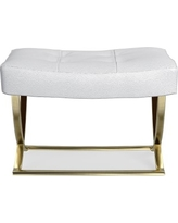 James Square Ottoman, Brass, Pebbled Leather, Solid, White