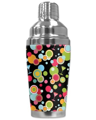 """Mugzie """"Martini Polka Dots"""" Cocktail Shaker with Insulated Wetsuit Cover, 16 oz, Black"""