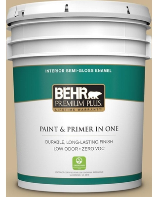 BEHR Premium Plus 5 gal. #MQ2-30 Spring Wheat Semi-Gloss Enamel Low Odor Interior Paint and Primer in One