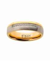 Men's Steel Gold-Tone Plated 11 Piece Clear Diamond Ring - Gold-tone