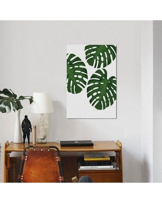 """East Urban Home 'Monstera Leaf III' Graphic Art Print on Canvas in Green UBAH9253 Size: 40"""" H x 26"""" W x 1.5"""" D"""