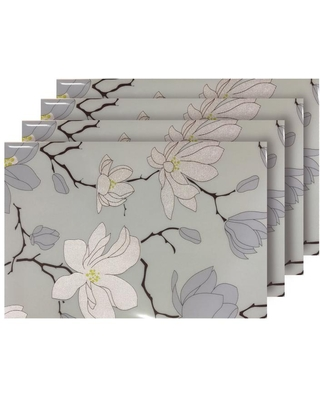 Dainty Home Magnolia Light Blue Reversible Metallic Printed Placemats (Set of 4)