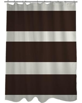 One Bella Casa Helen Striped Shower Curtain 7159 Color: Chocolate