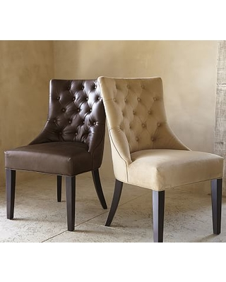 Hayes Tufted Leather Dining Side Chair, Leather Statesville Molasses