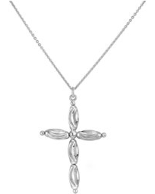 Sterling Silver Rhodium Plated Diamond Cut Cross Pendant Necklace 18 Inches