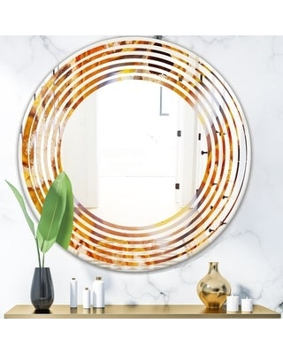 Designart 'Fire With Rrystals' Modern Round or Oval Wall Mirror - Wave (24 in. wide x 24 in. high)