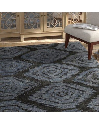 """Bloomsbury Market Domenic Hand-Tufted Blue/Black Area Rug BLMT8734 Rug Size: 5' x 7'6"""""""
