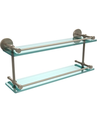 Allied Brass 22 in. L x 8 in. H x 5 in. W 2-Tier Clear Glass Bathroom Shelf with Gallery Rail in Antique Pewter