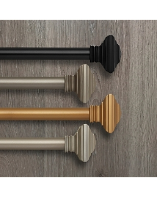 Elrene Home Fashions Florence Adjustable Curtain Rod with Square Finials, 86-120