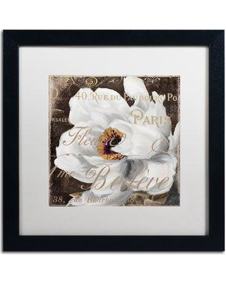 """Trademark Art 'Fleurs Blanc III' by Color Bakery Framed Graphic Art ALI4087-B1 Mat Color: White Size: 16"""" H x 16"""" W x 0.5"""" D"""
