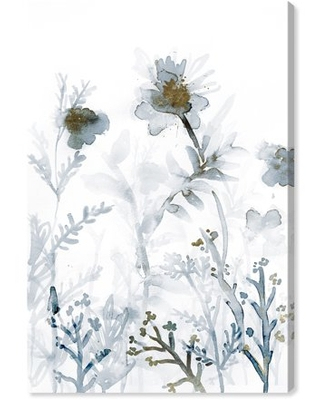 """Wynwood Studio 'Faded Floral Splashes Gold' Floral and Botanical Wall Art Canvas Print - White, Gray, 20"""" x 30"""""""