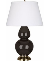 """Robert Abbey 31"""" Coffee Ceramic and Brass Table Lamp"""