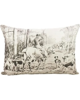 TheWatsonShop Fox Hunting Cotton Lumbar Pillow LUM_DFVB&WHORDOG