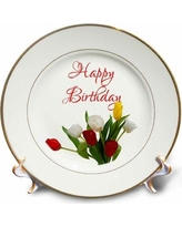 East Urban Home Tulip Flowers. Happy Birthday Porcelain Decorative Plate Porcelain in Red, Size 0.81 H x 7.5 W x 7.5 D in   Wayfair