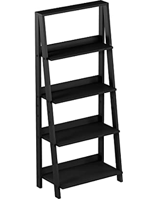 4 Tier Ladder Bookshelf - Free Standing Wooden Tiered Bookcase with Frame and Display Shelves for Living Room Storage by Lavish Home (Black)