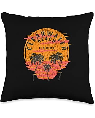 Rasocity Retro Clearwater Florida Palm Trees Sunset Skull Beach Throw Pillow, 16x16, Multicolor