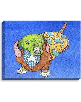 """DiaNoche Designs 'Dachshund' by Marley Ungaro Painting Print on Wrapped Canvas CAN-MarleyUngaroDachshundBlue Size: 24"""" H x 36"""" W x 1.5"""" D"""