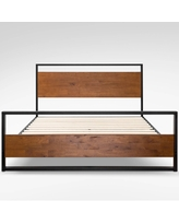 Twin Suzanne Platform Bed with Headboard and Footboard Black - Zinus