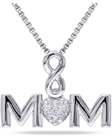 Miadora Sterling Silver Diamond Accent Mom Infinity Heart Necklace