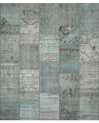 """Bloomsbury Market Treva Antique Patchwork Hand-Knotted Green Area Rug BLMY3116 Rug Size: Rectangle 8'2"""" x 9'10"""""""
