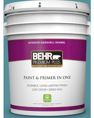 BEHR PREMIUM PLUS 5 gal. Home Decorators Collection #HDC-AC-23A Cabana Blue Eggshell Enamel Low Odor Interior Paint & Primer