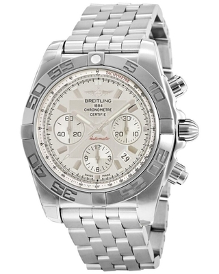 Breitling Men's AB011012-G684-375A 'Chronomat 44' Chronograph Stainless Steel Watch - Silver (Silver)
