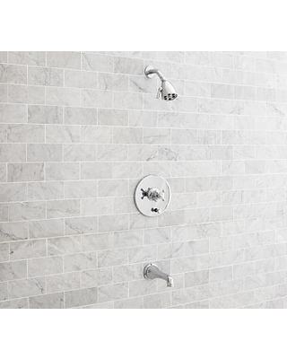 Warby Pressure Balance Cross-Handle Bathtub & Shower Faucet Set, Chrome Finish