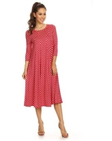 Women's Red Rayon and Spandex Polka Dot Dress