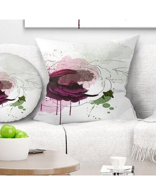 """East Urban Home Floral Rose Sketch Watercolor Pillow FUSI5013 Size: 16"""" x 16"""" Product Type: Throw Pillow"""