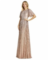 Mac Duggal Sequined Gown - Rose Gold/Pink