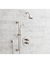 Warby Thermostatic Cross-Handle Hand-Held Shower Faucet Set, Polished Nickel Finish