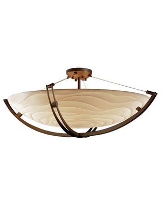 Check Out Deals On Longshore Tides Gilcrease Porcelina Collection Crossbar Family 6 Light 55 Simple Bowl Led Semi Flush Mount X115170971