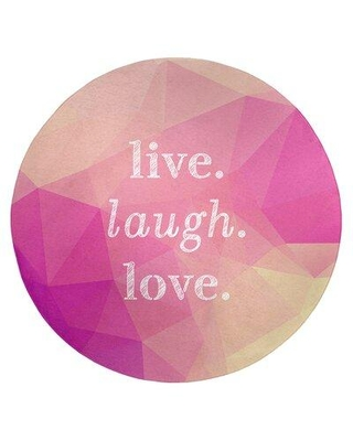 East Urban Home Faux Gemstone Live Laugh Love Quote Poly Chenille Rug FCLS6798 Rug Size: Round 5'