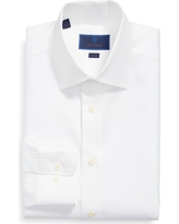 Men's Big & Tall David Donahue Trim Fit Solid Dress Shirt, Size 18 - 34/35 - White