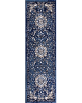 Well Woven Luxury Mahal Blue 2 ft. x 8 ft. Traditional Medallion Vintage Distressed Runner Rug